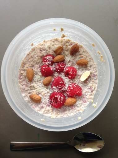 Raspberry turns these overnight oats pink!