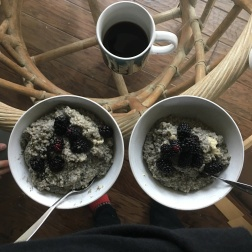 Black sesame, blackberries, oatmeal