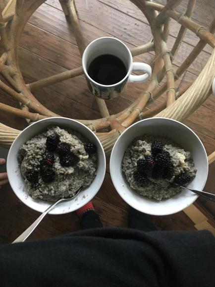 Black sesame, blackberries, oatmeal