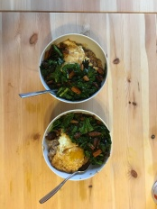 Sauteed greens, egg, carrot, bulgur