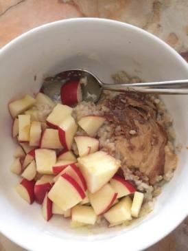 Christina's mom's homemade peanut butter in porridge